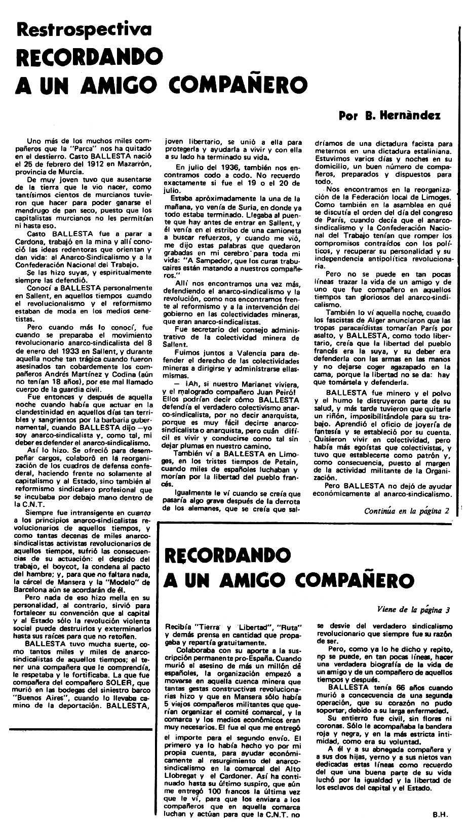 """Necrològica de Casto Ballesta Urrea apareguda en el periòdic tolosà """"Espoir"""" del 16 de desembre de 1979"""