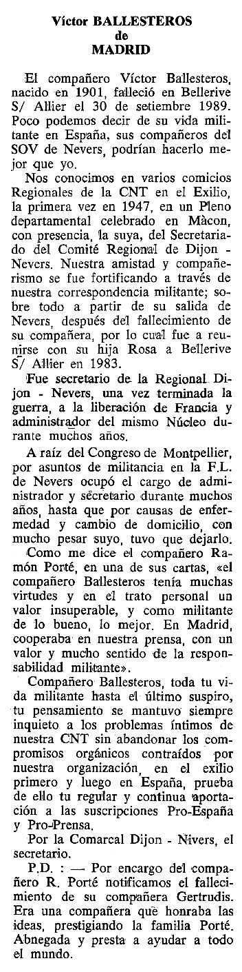 """Necrològica de Víctor Ballesteros apareguda en el periòdc tolosà """"Cenit"""" del 6 de març de 1990"""