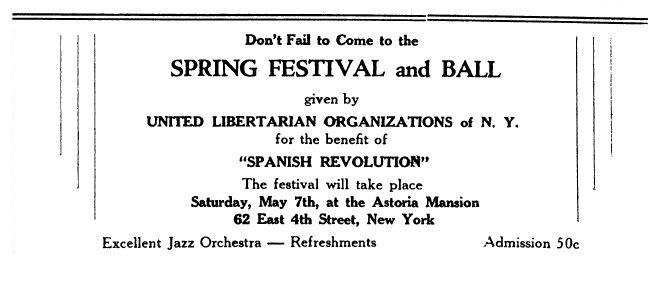 """Propaganda de l'acte publicada en el periòdic novaiorquès """"Spanish Revolution"""" de l'1 de maig de 1938"""