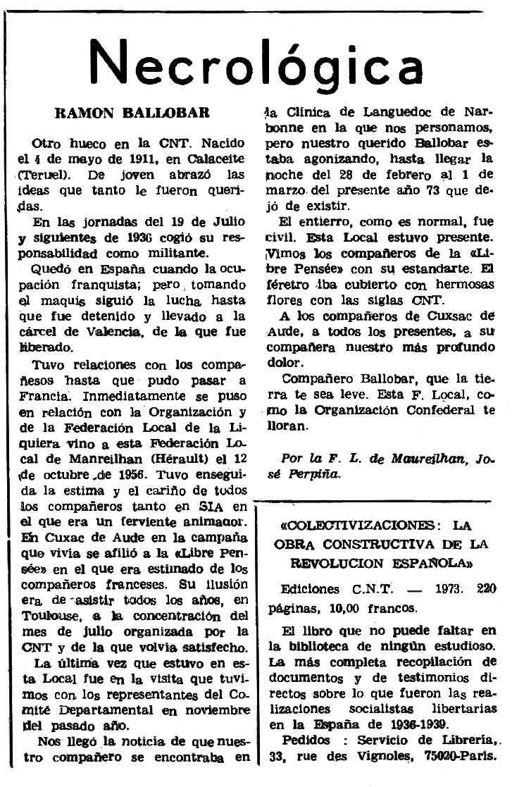 """Necrològica de Ramon Ballobar apareguda en el periòdic parisenc """"Le Combat Syndicaliste"""" del 3 de maig de 1973"""