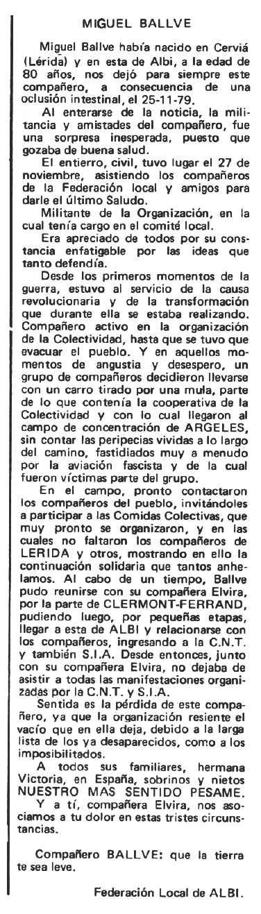 """Necrològica de Miquel Ballvé Palau publicada en el periòdic tolosà """"Espoir"""" del 4 de maig de 1980"""