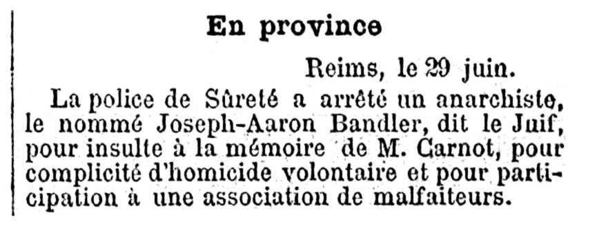 """Noticia de la detención de Aarón Bandler aparecida en el periódico parisino """"Journal los Débats"""" del 30 de junio de 1894"""