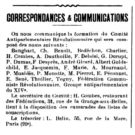 """Notícia sobre la creació del Comitè Antiparlamentari Revolucionari (CAR) apareguda en el periòdic parisenc """"Les Temps Nouveaux"""" del 13 d'abril de 1912"""