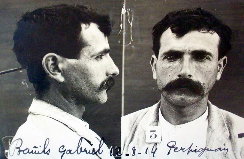 Foto antropomètrica policíaca de Gabriel Bañils Gumbau (12 d'agost de 1914)