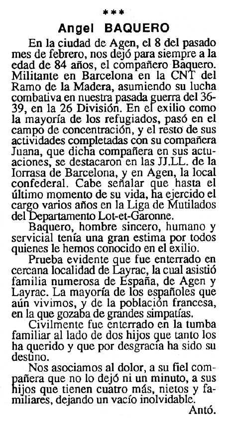 "Necrològica d'Ángel Baquero apareguda en el periòdic tolosà ""Cenit"" del 2 d'abril de 1991"