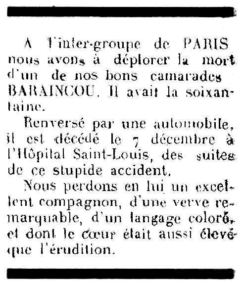 """Necrològica d'Albert Baraincou apareguda en el periòdic parisenc """"Le Libertaire"""" del 21 de desembre de 1944"""