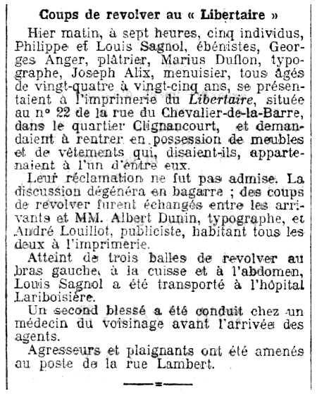 """Notícia sobre la baralla entre anarquistes publicada en el diari parisenc """"Le Radical"""" del 9 de maig de 1910"""