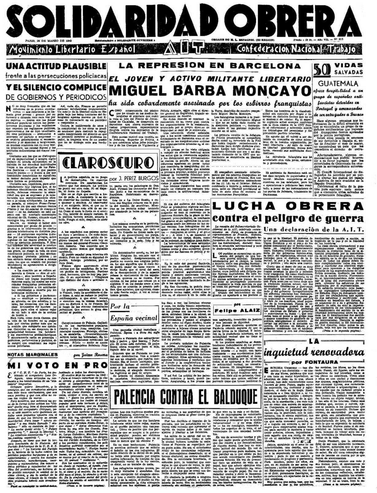 """Notícia de l'assassinat de Miguel Barba Moncayo apareguda en """"Solidaridad Obrera"""" de París del 26 de març de 1949"""