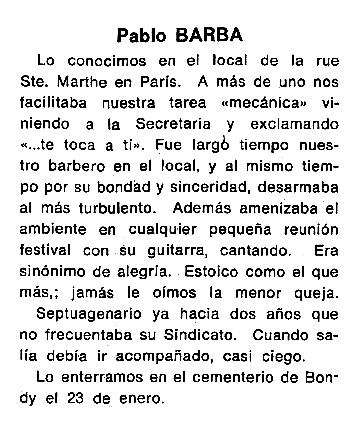 """Necrològica de Pablo Barba Nieto apareguda en el periòdic tolosà """"Cenit"""" del 18 de març de 1986"""