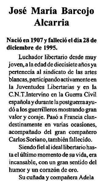 """Necrològica de José María Barcojo Alcarria apareguda en el periòdic """"CNT"""" de Granada del febrer de 1996"""