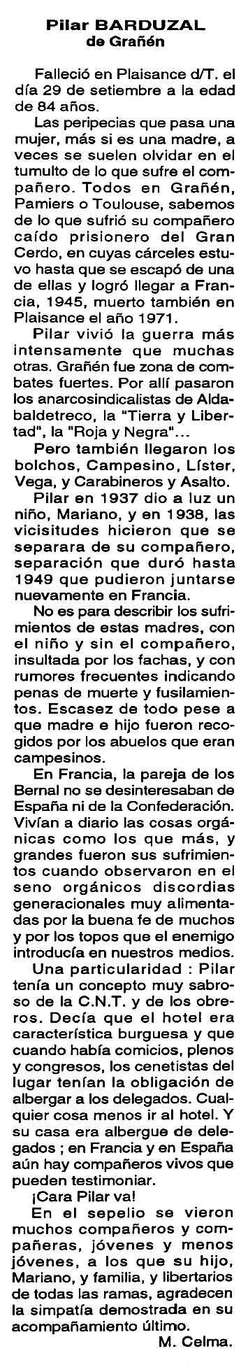 "Necrològica de Pilar Barduzal Oto apareguda en el periòdic tolosà ""Cenit"" del 29 de novembre de 1994"