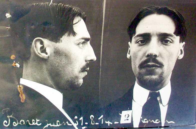 Foto policíaca de Joan Baret Cabadosa (31 d'agost de 1914)