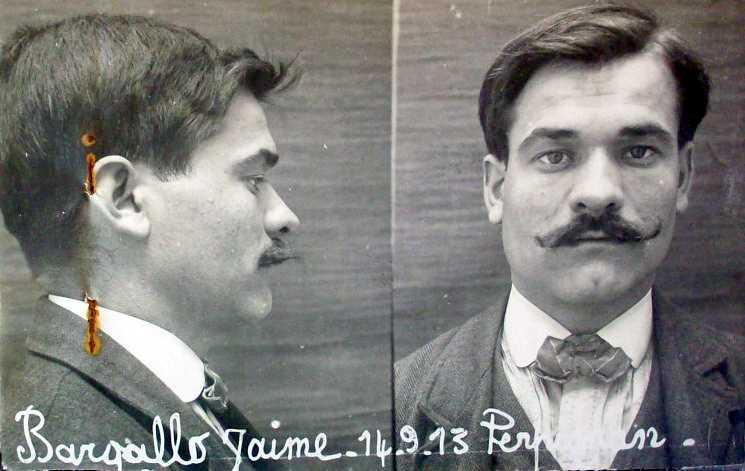 Foto policíaca de Jaume Bargalló Casado (14 de setembre de 1913)