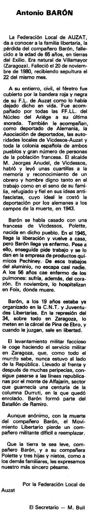 """Necrològica d'Antonio Barón Palacín apareguda en el periòdic tolosà """"Espoir"""" del 26 d'abril de 1981"""