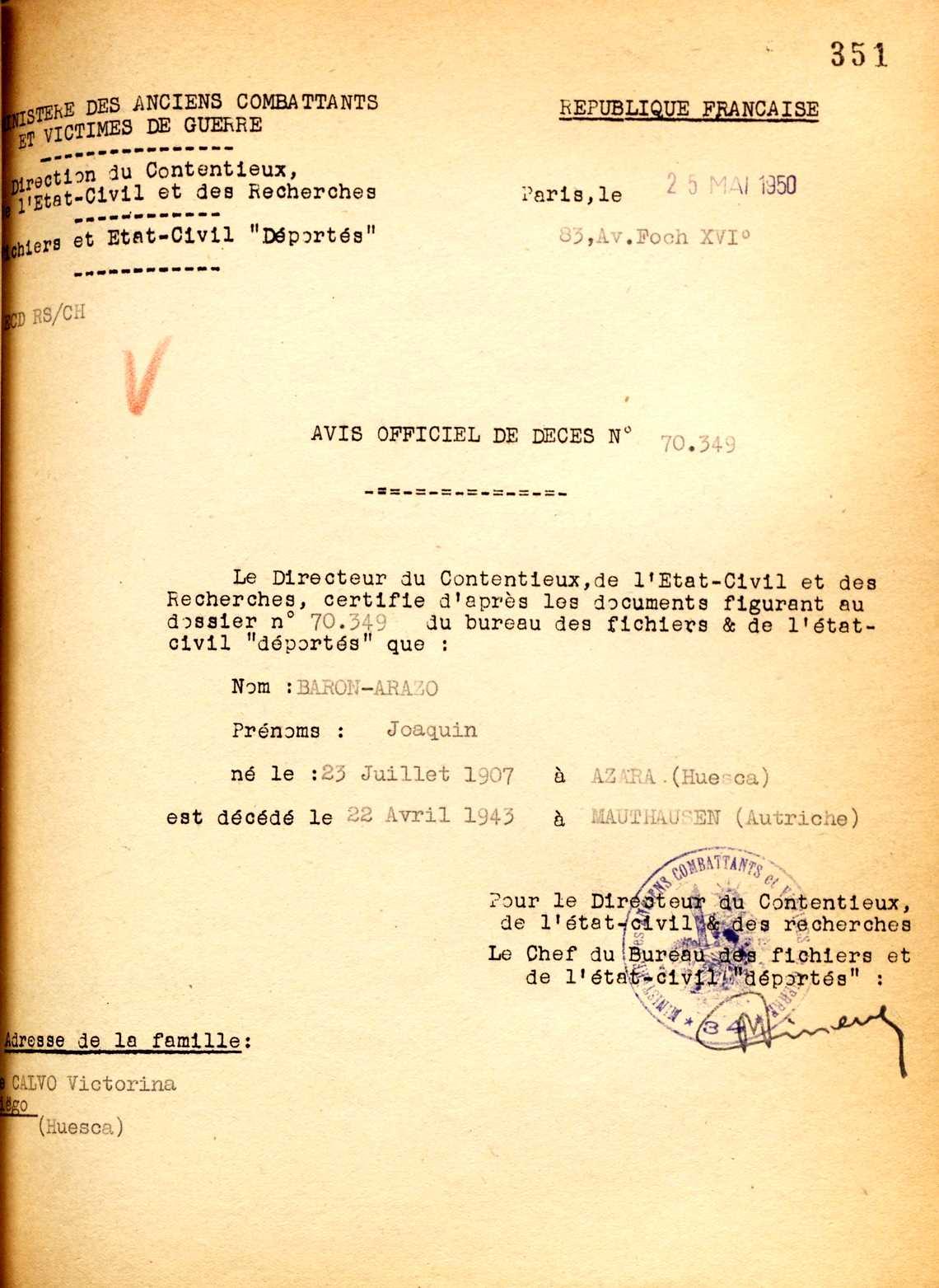 Certificat de defunció de Joaquín Barón Arazo