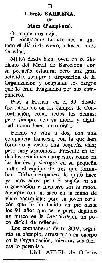 """Necrològica de Liberto Barrena Santoba apareguda en el periòdic tolosà """"Cenit"""" del 7 de març de 1989"""