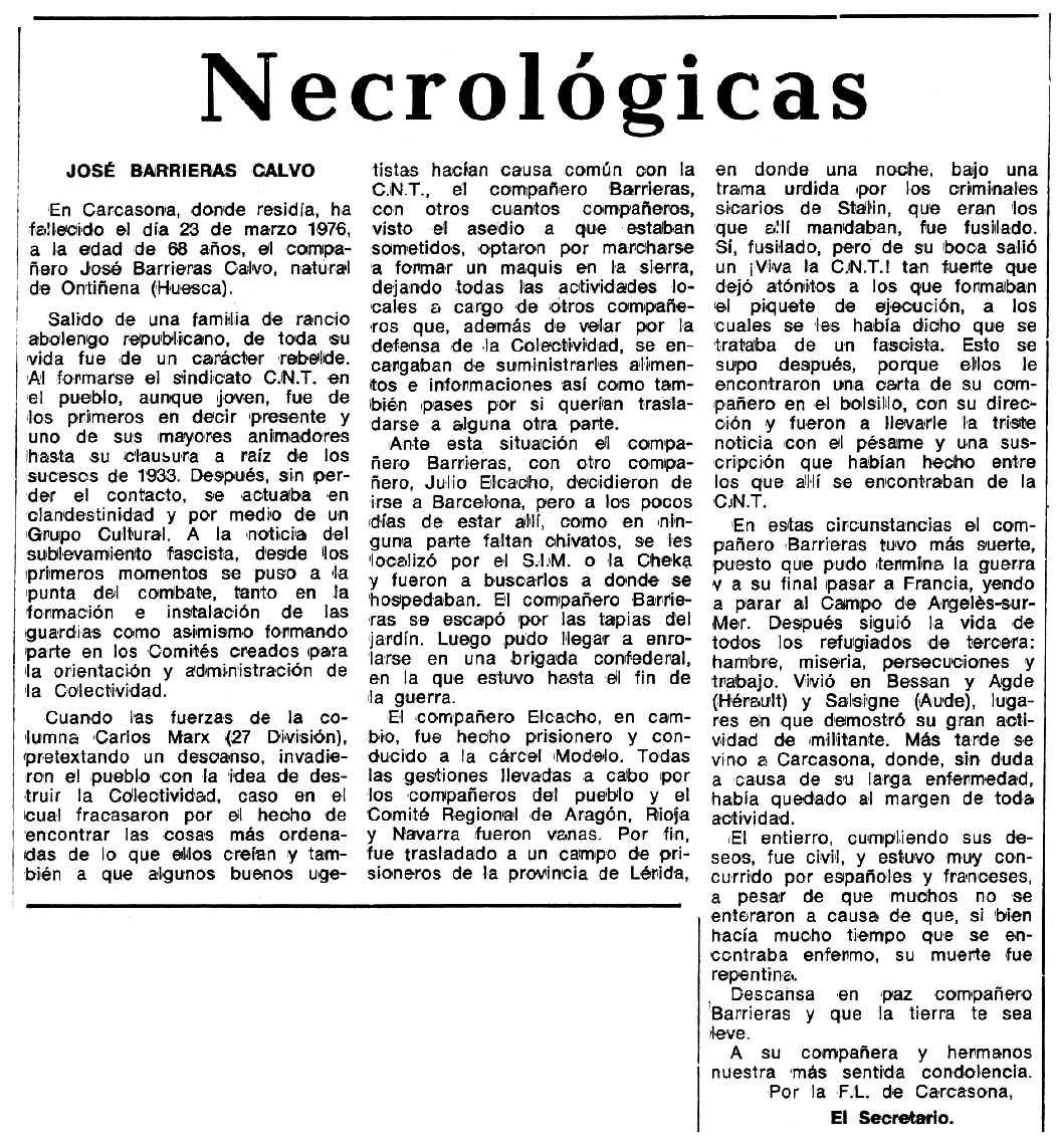 """Necrològica de José Barrieras Calvo apareguda en el periòdic tolosà """"Espoir"""" del 12 de desembre de 1976"""