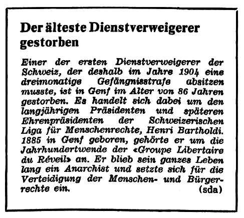 """Nota necrològica d'Henri Bartholdi apareguda en el diari de Zuric """"Die Tat"""" del 7 de gener de 1972"""