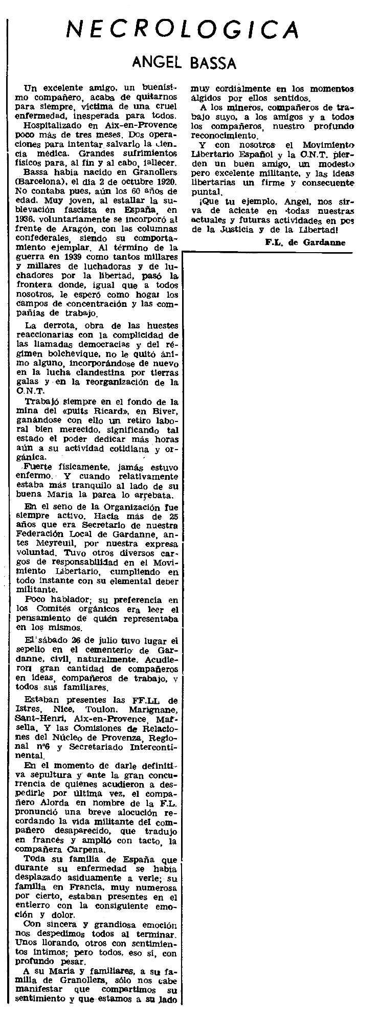 """Necrològica d'Àngel Bassa apareguda en el periòdic parisenc """"Le Combat Syndicaliste"""" del 25 de setembre de 1980"""