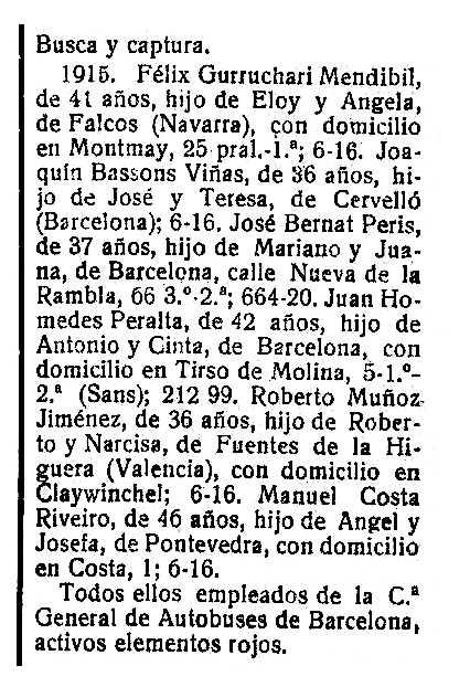 """Ordre de crida i cerca emès per la Direcció General de Policia franquista de Barcelona contra Joaquim Bassons Viñas, i altres «activos elementos rojos» de la Companyia General d'Autobusos de Barcelona (""""Boletín Oficial de la provincial de Cáceres"""" del 18 d'octubre de 1939)"""