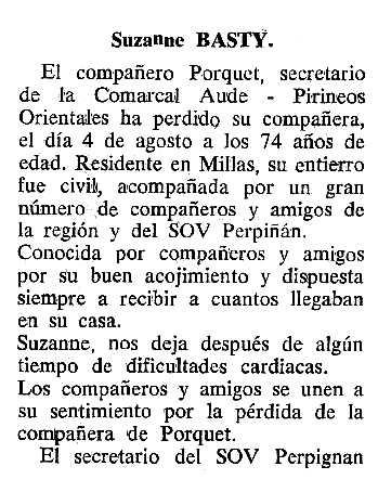 """Necrològica de Suzanne Basty apareguda en el periòdic tolosà """"Cenit"""" del 15 de novembre de 1988"""