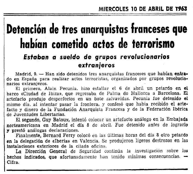 """Notícia de la detenció de Guy Batoux aparaeguda en el diari barcelonès """"La Vanguardia"""" del 10 d'abril de 1963"""