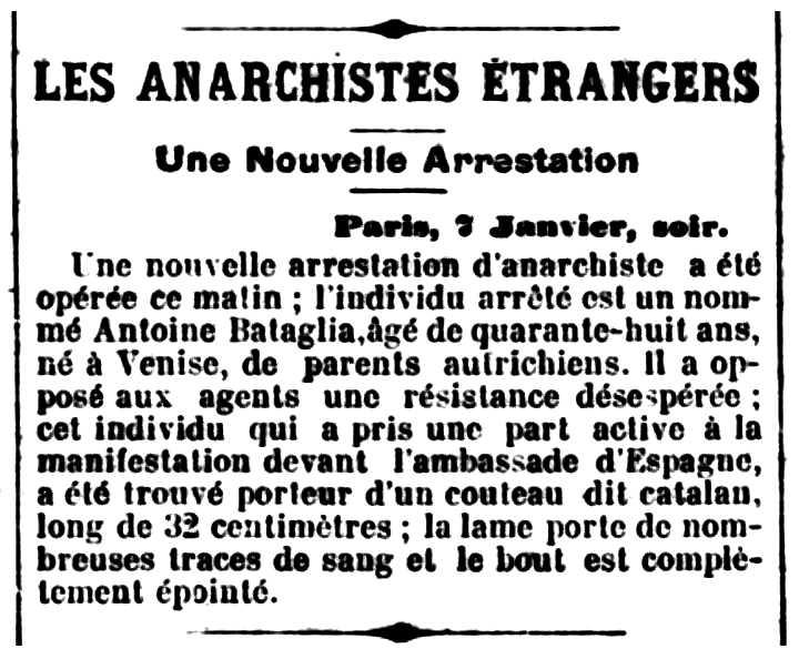 """Notícia de la detenció d'Antonio Battaglia apareguda en el diari marsellès """"Le Petit Provençal"""" del 8 de gener de 1897"""