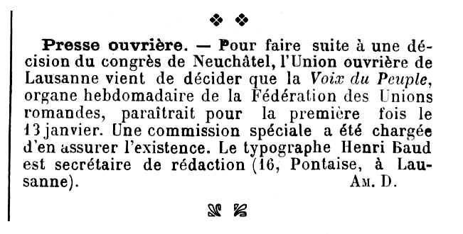"""Notícia del nomenament d'Henri Baud com a secretari de redacció de """"La Voix du Peuple"""" apareguda en """"Les Temps Nouveaux"""" del 13 de gener de 1906"""