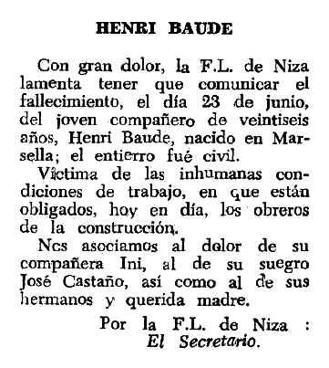 """Necrològica d'Henri Baude apareguda en el periòdic tolosà """"Espoir"""" del 6 de novembre de 1966"""