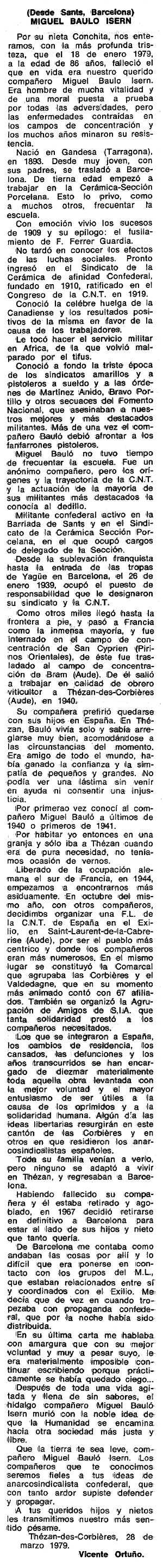 "Necrològica de Miquel Bauló Isern apareguda en el periòdic tolosà ""Espoir"" de l'1 de maig de 1979"