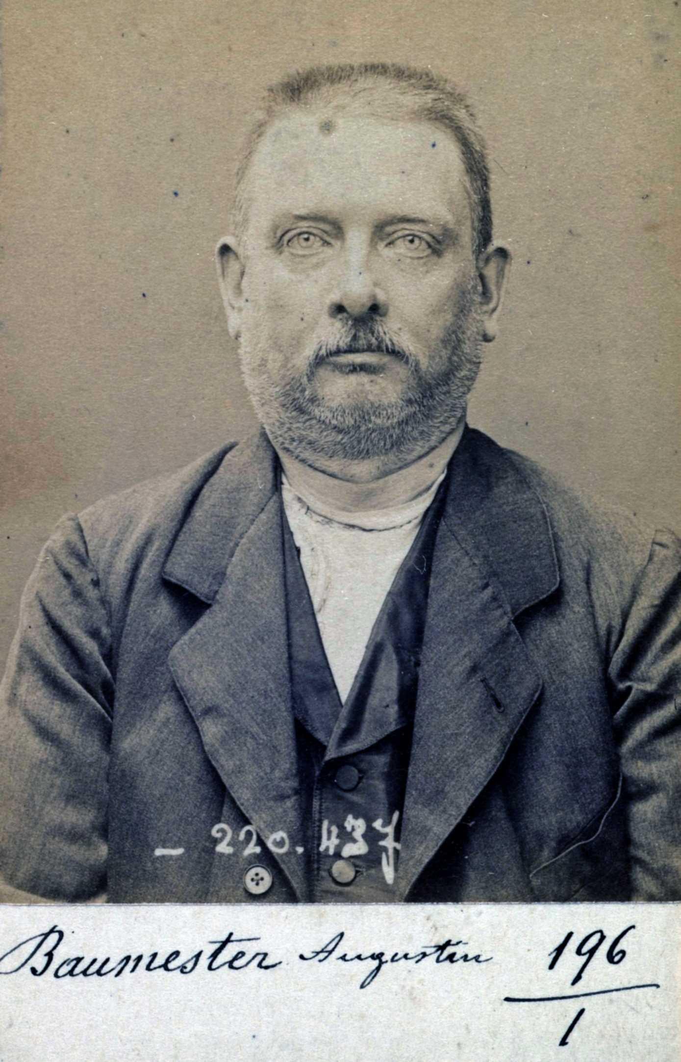 Foto policíaca d'Augustin Baumester (2 de juliol de 1894)