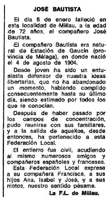 """Necrològica de José Bautista apareguda en el periòdic """"Espoir"""" del 6 de març de 1977"""