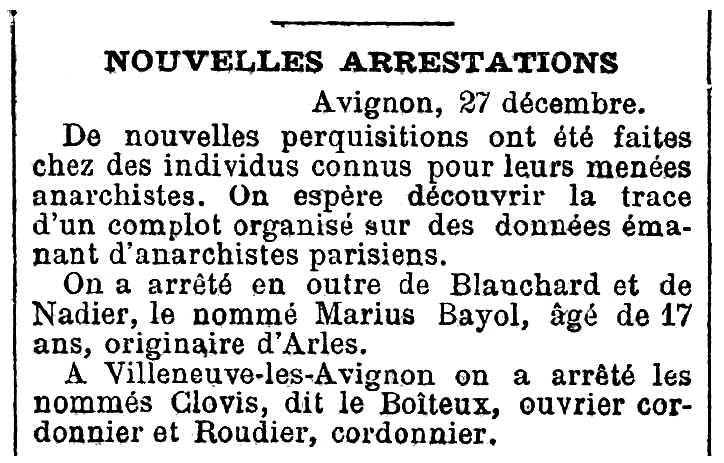 """Notícia de la detenció de Marius Bayol apareguda en el diari parisenc """"Le XIXe Siècle"""" del 29 de desembre de 1893"""