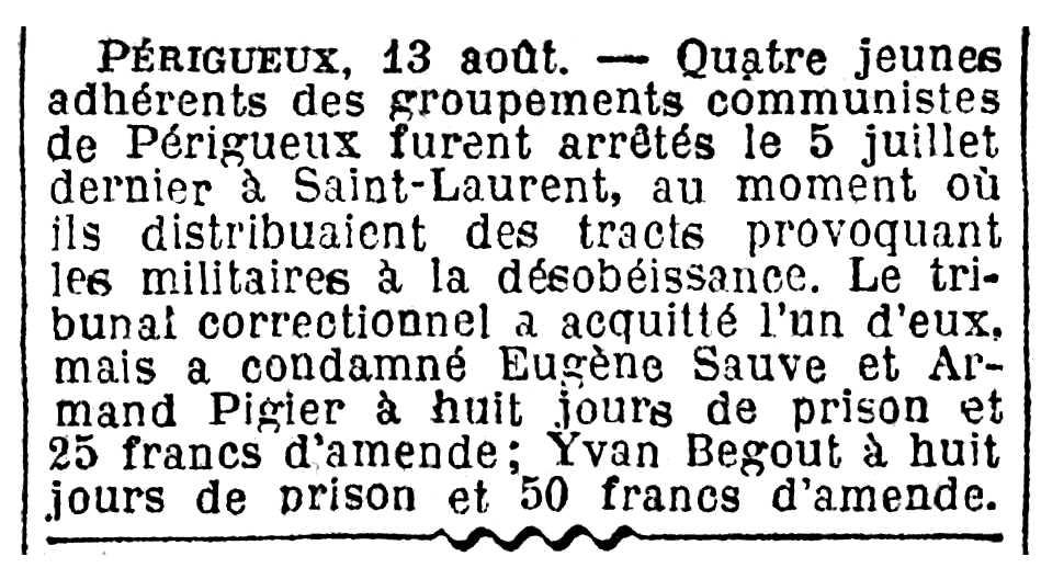 """Notícia de la condemna d'Yvan Begout apareguda en el diari parisenc """"Le Journal"""" del 14 d'agost de 1927"""