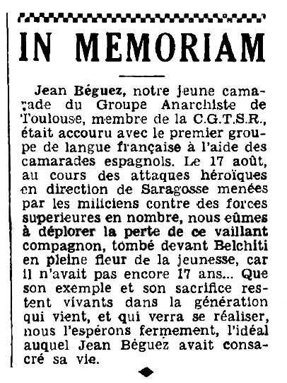 "Necrològica de Jean Béguez apareguda en el periòdic barceloní ""L'Espagne Antifasciste"" de l'1 d'octubre de 1936"