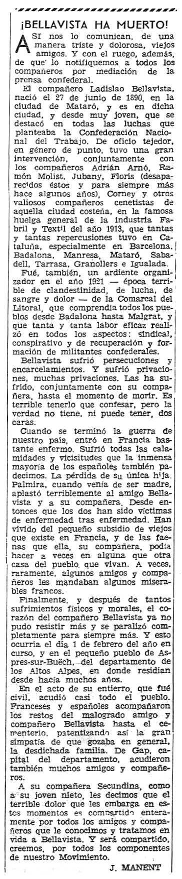 """Necrológica de Ladislao Bellavista Gual aparecida en el periódico parisino """"Solidaridad Obrera"""" del 23 de febrero de 1961"""