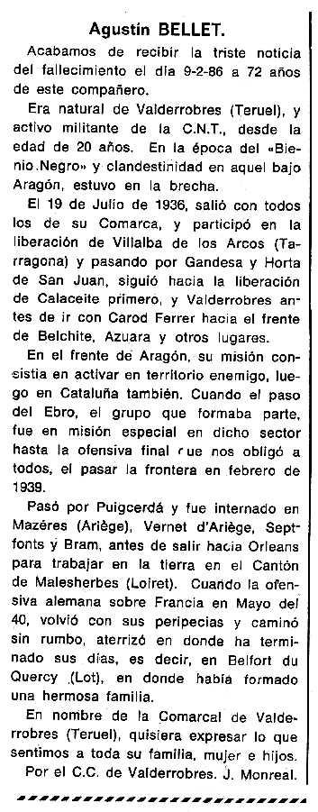 """Necrològica d'Agustín Bellet apareguda en el periòdic tolosà """"Cenit"""" del 18 de març de 1986"""