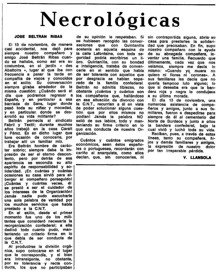 """Necrològica de Josep Beltran Ribas apareguda en el periòdic tolosà """"Espoir"""" del 13 de febrer de 1972"""