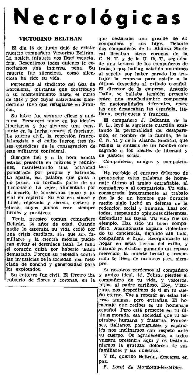 """Necrològica de Victorino Belrán Rodríguez apareguda en el periòdic parisenc """"Le Combat Syndicaliste"""" del 10 de juliol de 1969"""