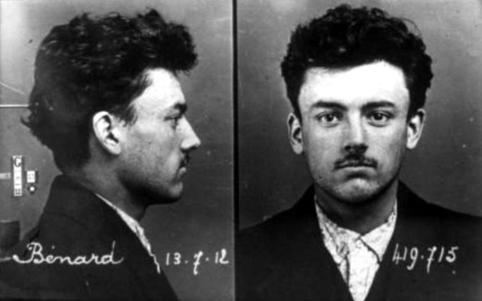 Foto policíaca de Kléber Bénard (13 de juliol de 1912)