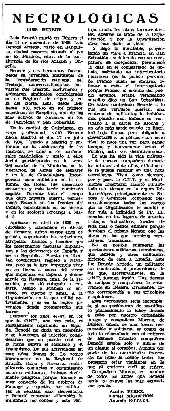 """Necrològica de Luis Benedé Artieda apareguda en el periòdic tolosà """"Espoir"""" del 31 de maig de 1970"""