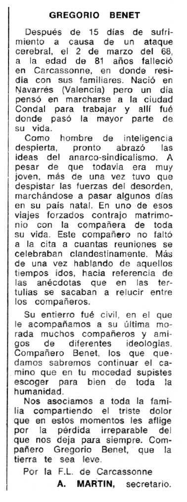"""Necrològica de Gregorio Benet apareguda en el periòdic tolosà """"Espoir"""" del 26 de maig de 1968"""