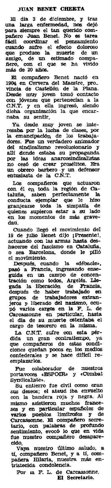 """Necrològica de Joan Benet Cherta apareguda en el periòdic tolosà """"Espoir"""" del 4 d'abril de 1971"""