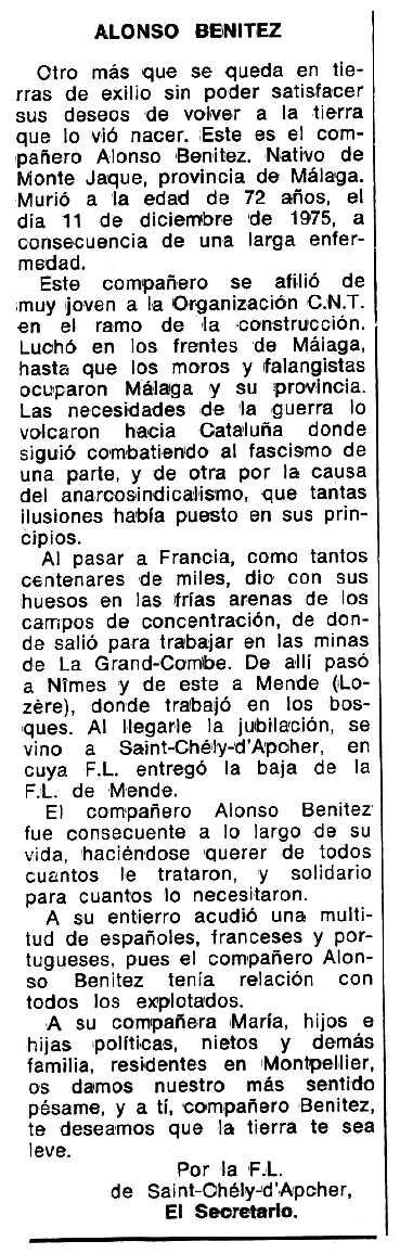 """Necrològica d'Alonso Benítez apareguda en el periòdic tolosà """"Espoir"""" del 2 de maig de 1976"""