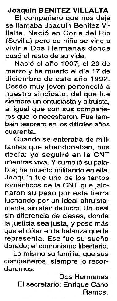"""Necrològica de Joaquín Benítez Villalta apareguda en el periòdic tolosà """"Cenit"""" del 12 de gener de 1993"""