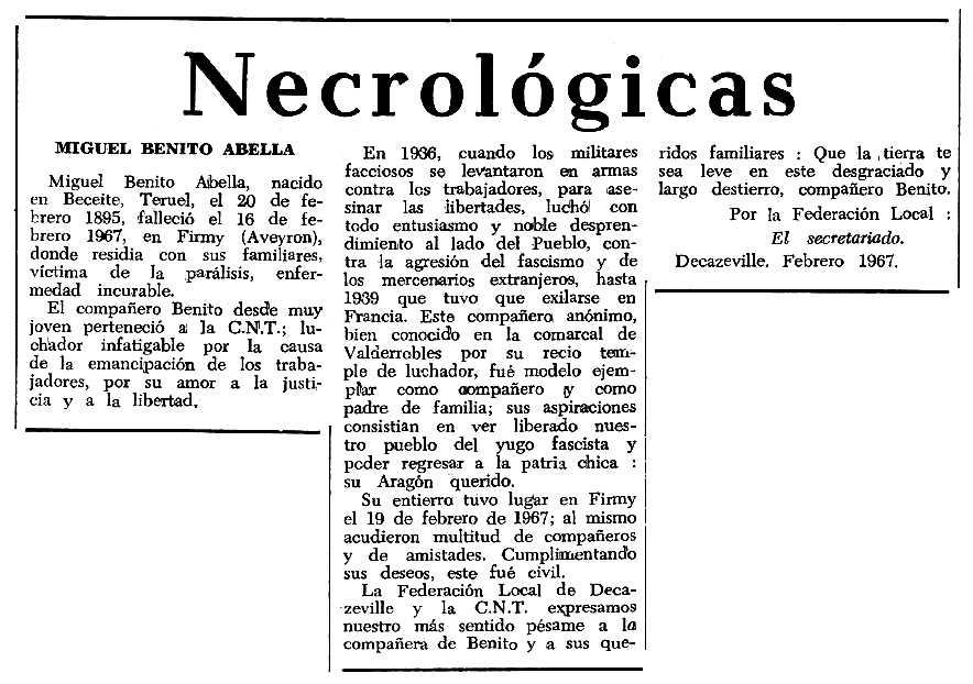 """Necrològica de Miguel Benito Abella apareguda en el periòdic tolosà """"Espoir"""" del 21 de maig de 1967"""