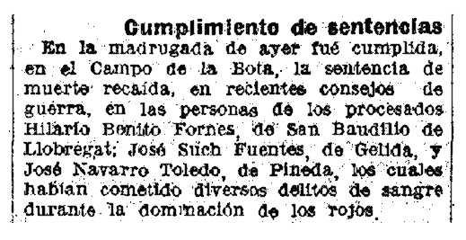 """Notícia de l'afusellament d'Hilari Benito Fornos apareguda en """"La Vanguardia"""" (28 de març de 1943)"""