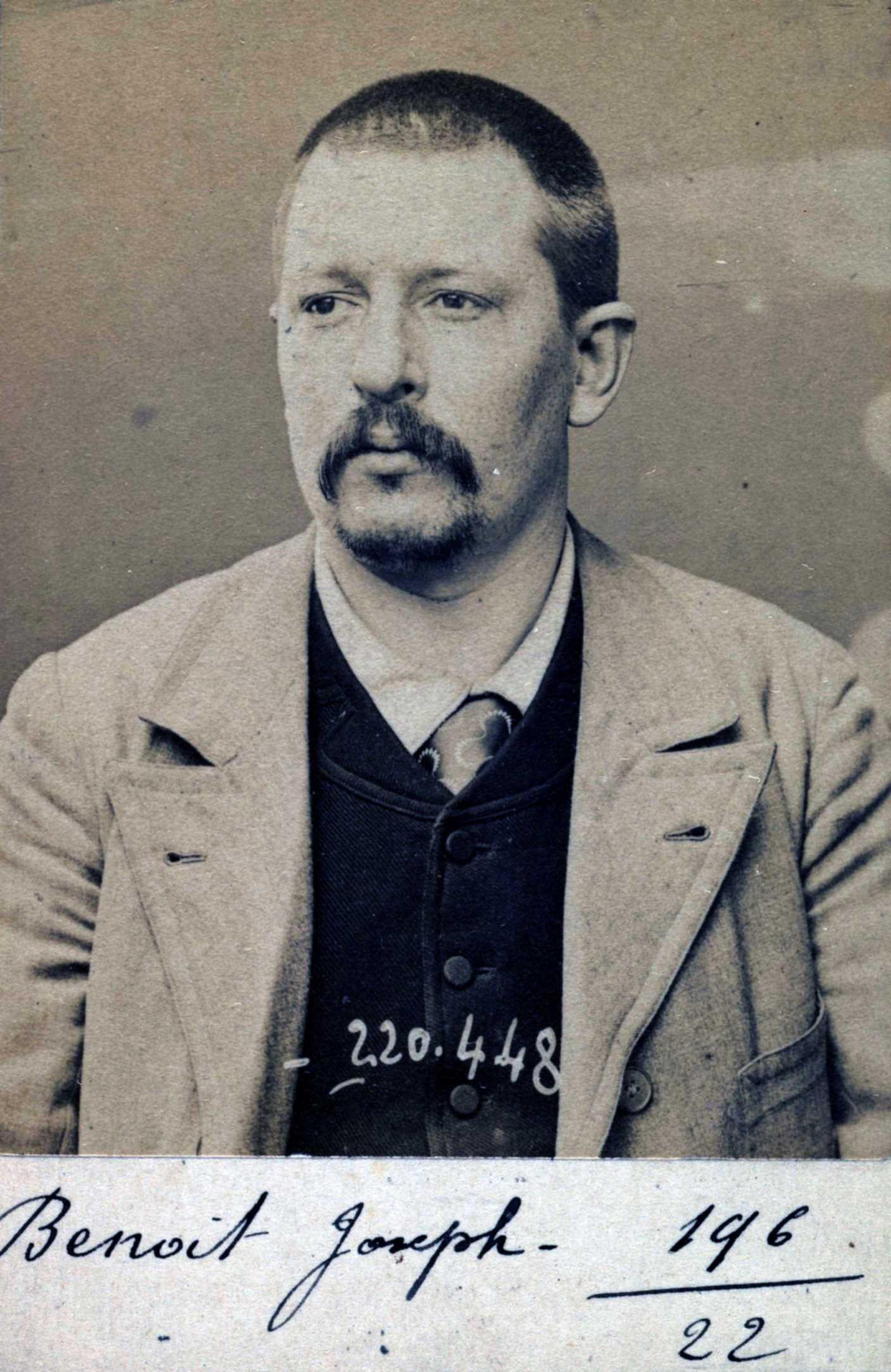 Foto policíaca de Joseph Benoit (2 de juliol de 1894)
