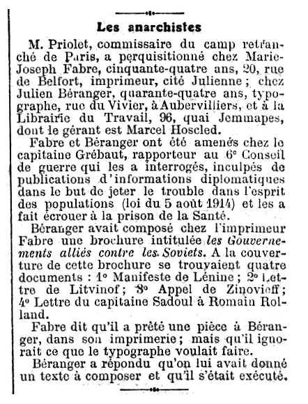 """Notícia de la detenció de Julie Béranger apareguda en el diari parisenc """"Le Figaro"""" del 25 de febrer de 1919"""