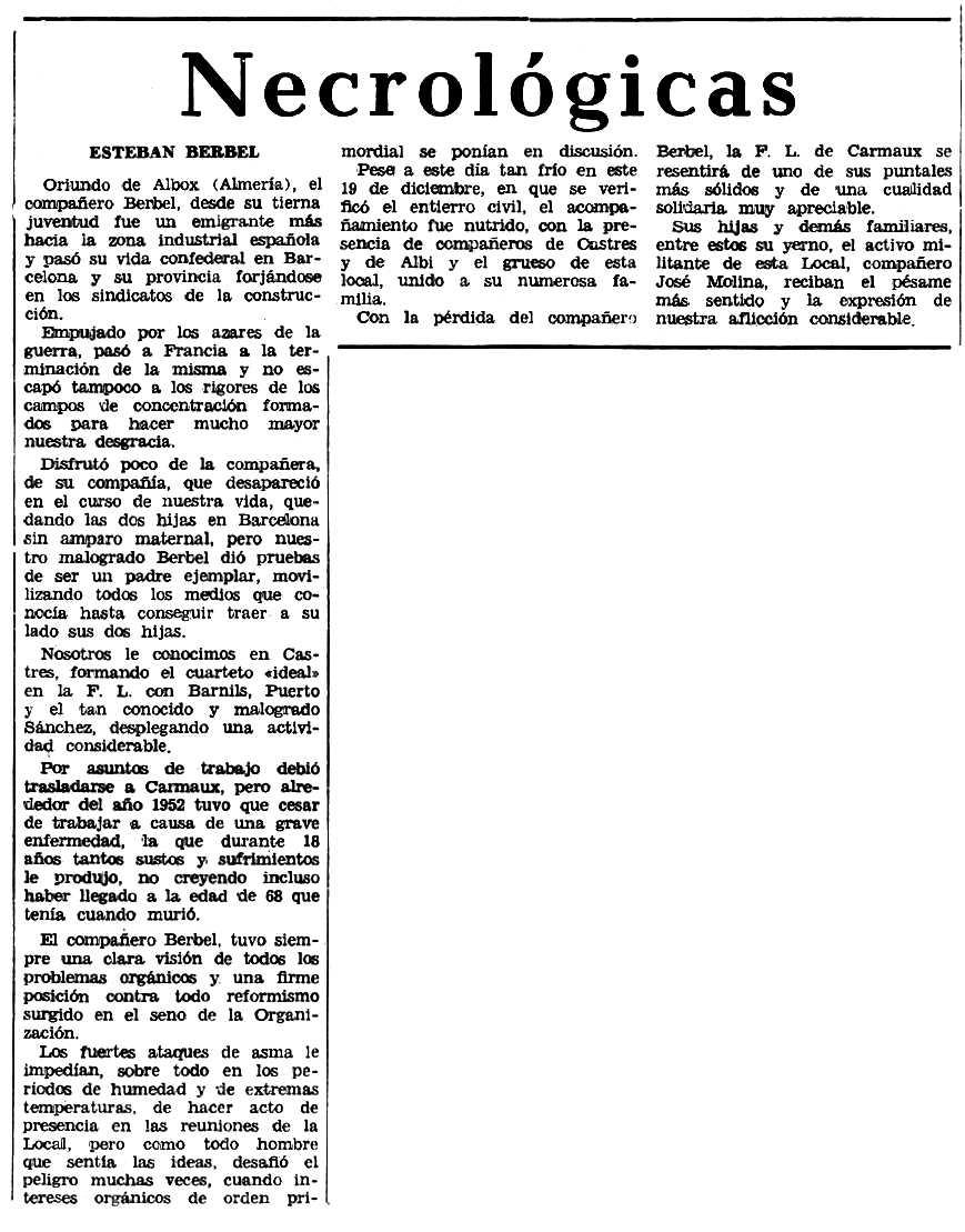 """Necrològica d'Esteban Berbel Berbel apareguda en el periòdic tolosà """"Espoir"""" de l'1 de febrer de 1970"""
